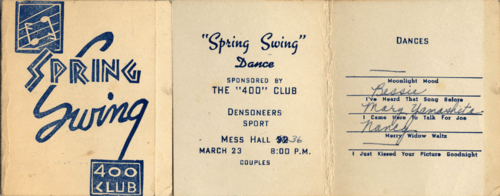 Spring Swing dance card (cover and inside) held at the Jerome Relocation Center. Courtesy of Juichi Kamikawa