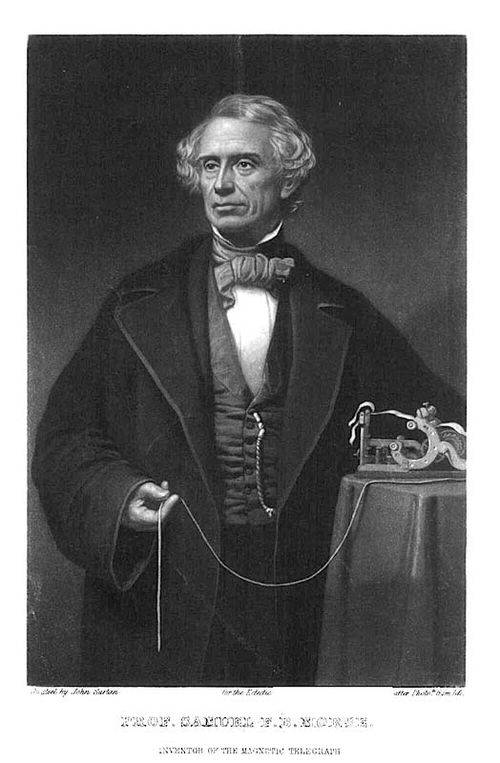 Samuel Morse, ca. 1850, with an early type of printing receiver. Lithograph by John Sartain, courtesy of Smithsonian Libraries.