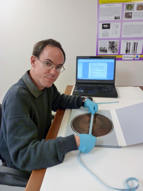 Patrick Feaster working with the collections. Photo by Carlene Stephens.