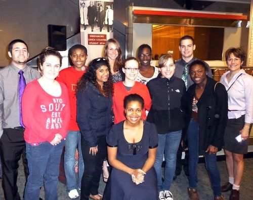 Amy Stevens' Gallaudet University class with actor Lauren Davis. The author is second from the left in the front row.