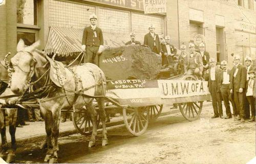Anthracite coal float, United Mine Workers of America, Dubois, Pennsylvania, Labor Day, 1908