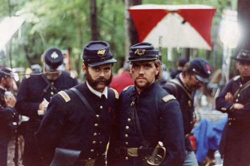 """Tom Chamberlain"" (C. Thomas Howell) left and the ""Cocky Lieutenant"" (Brian James Egen) right during a break in the filming on the Little Round Top set during the filming of Gettysburg."