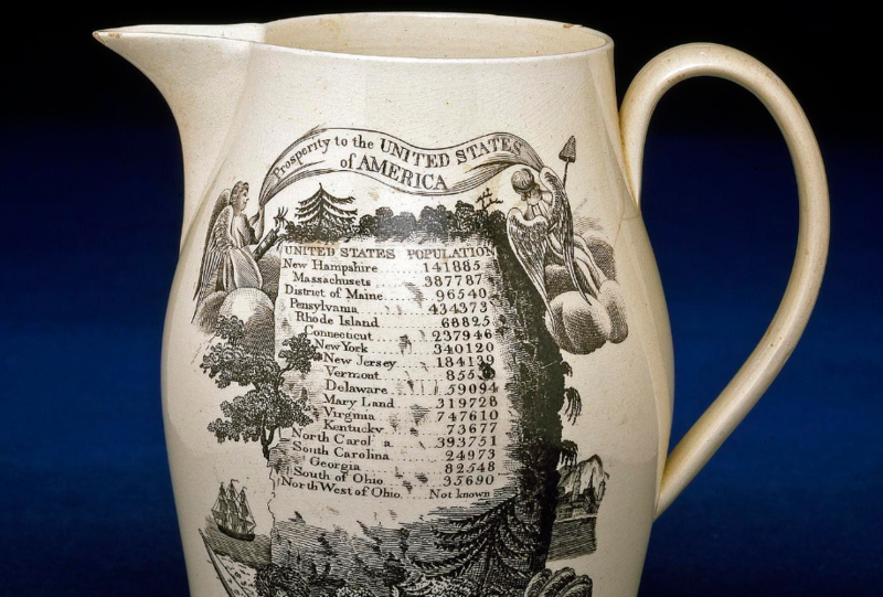This jug commemorates the first census of the United States taken in 1790. Unlike today's quick and easy online survey, the 1790 census was undertaken by U.S. marshals on horseback. The creamware jug was make in England for the American market. We won't be making a jug to commemorate our survey results, but we do appreciate them!