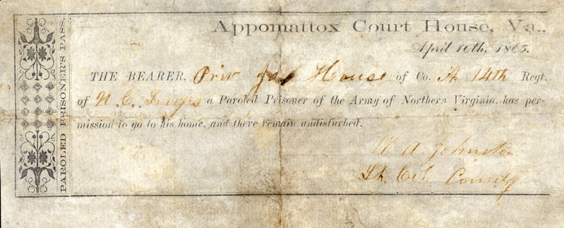 This document, dated April 10, 1865, is an example of the prisoner parole pass printed and issued to some 28,000 Confederate soldiers at Appomattox Court House at the end of the Civil War. Note that three of the parole documents could fit on one page.