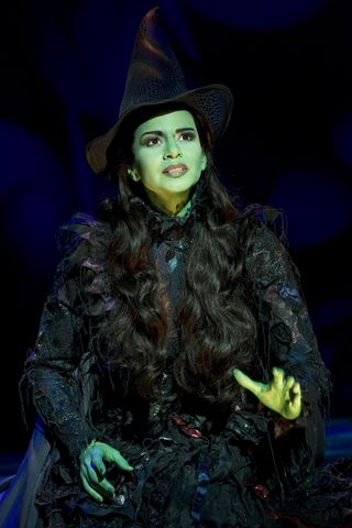 "Mandy Gonzalez as Elphaba in ""WICKED."" Photograph by Joan Marcus."