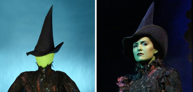 "On the left, the Elphaba costume on display in the museum. On the right, Marcie Dodd in ""WICKED,"" photography by Joan Marcus."