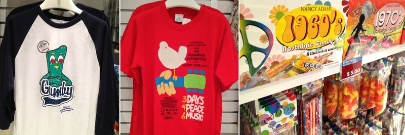 A few groovy selections from the museum store, including Gumby and Woodstock t-shirts and nostalgic candy.