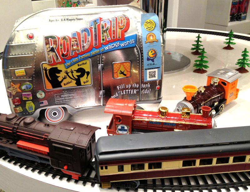 Kid-friendly train items in the museum store. The selection also includes books that grown-up fans of railroad history will appreciate.