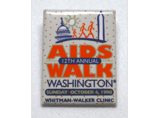 This button is a souvenir of the 1998 AIDS Walk in Washington, D.C.