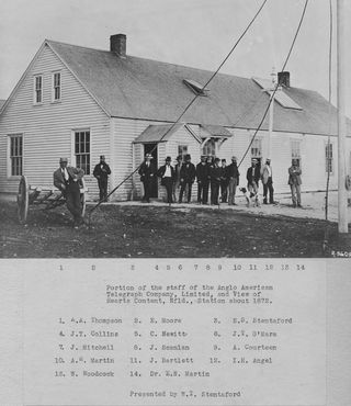 Portion of the staff of the Anglo American Telegraph Company, Limited, and View of Hearts Content, Nfld., Station about 1872 [typed caption under photorpint].