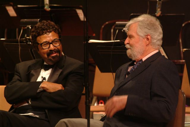 David Baker interviewing Bill Holman during the SJMO's tribute to Bill Russo and Bill Holman