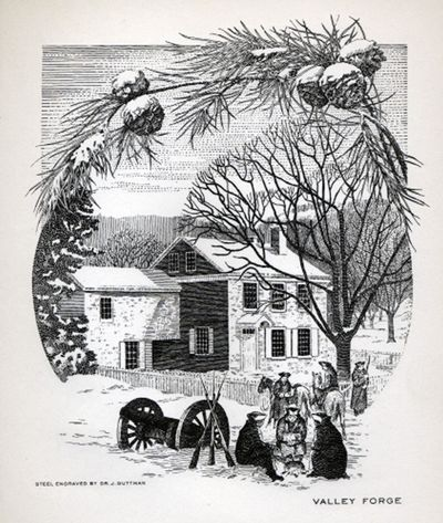 Christmas at Valley Forge, greeting card design, Steelograph Co.