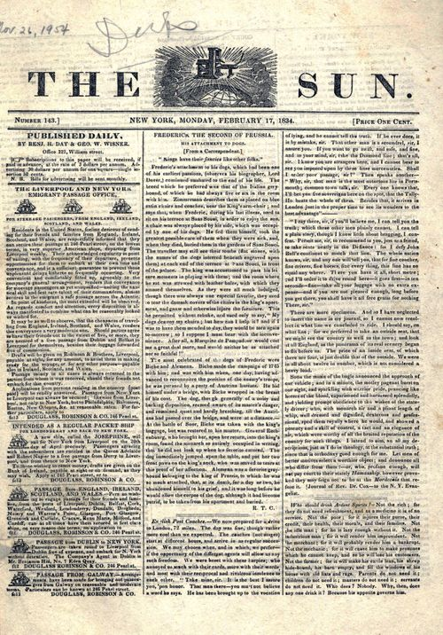 """The Sun,"" published between 1833 and 1950, began as a four-page daily newspaper with stories of local interest, crime reports, and sporting news."