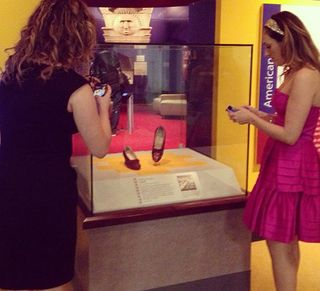 "Haas and Vivino snap photos of Judy Garland's ruby slippers on display in ""American Stories"""