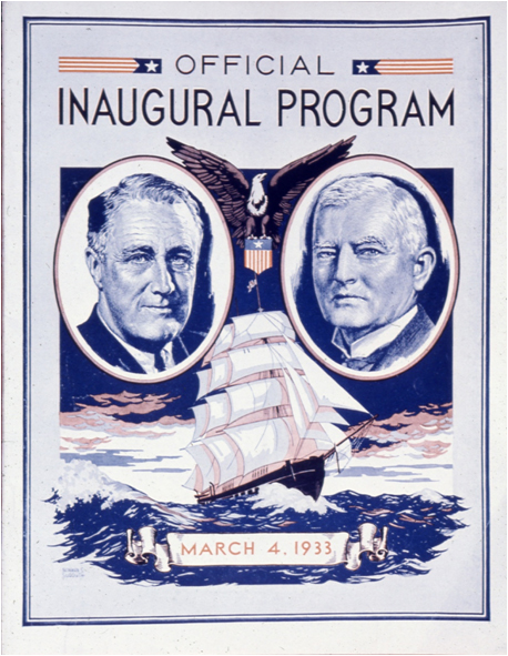 An inaugural program from President Franklin D. Roosevelt's 1933 inauguration. The celebrations were toned down at the last minute out of respect for the passing of Senator Thomas J. Walsh, Roosevelt's pick for attorney general. A buffet luncheon at the White House was cancelled as a result.