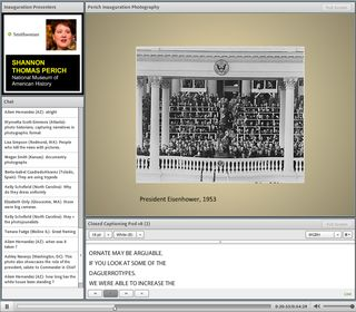 A screen shot of the online conference for students and teachers in which our curators and education team participated