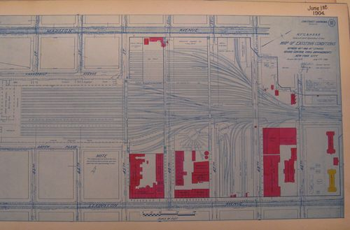 "The new Grand Central Terminal was built on the existing site of the Grand Central Depot, which had been operating for decades and had renovated its facilities numerous times.  One of the biggest challenges during construction was keeping track of previous structures uncovered during the excavation. A special note on this Map of Existing Conditions makes no claim that sub-surface features depicted are ""even approximately correct."""