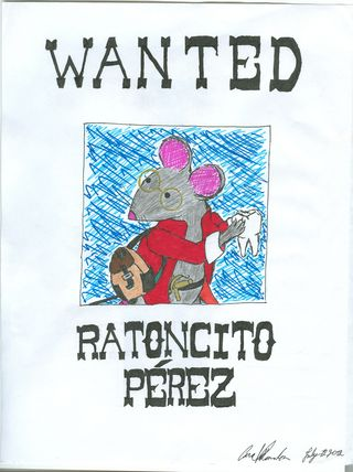 Wanted poster for the mouse that grabs children's teeth throughout Latin America