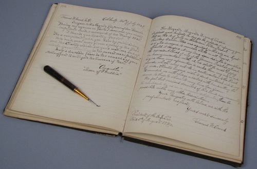 Manuscript about Dr. Thomas Evan's life and dental extractor used by him