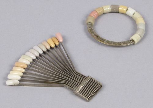 Denture-makers used shade guides such as the two shown here from the early 20th century, to match a person's teeth and gums to the artificial ones