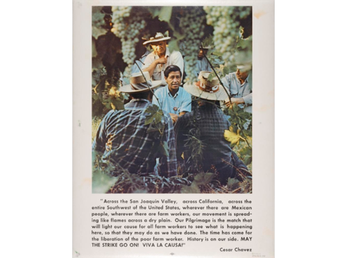 The text on this poster, printed around 1970, describes Chavez's vision of political and economic emancipation for farm workers. La Causa, or The Cause, as it was known among Mexican Americans, was the political and artistic touchstone of the Chicano movement.
