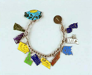 This bracelet, representing eleven of the thirty-five states that ratified the ERA, was worn by Alice Paul, who drafted the original amendment in 1923.
