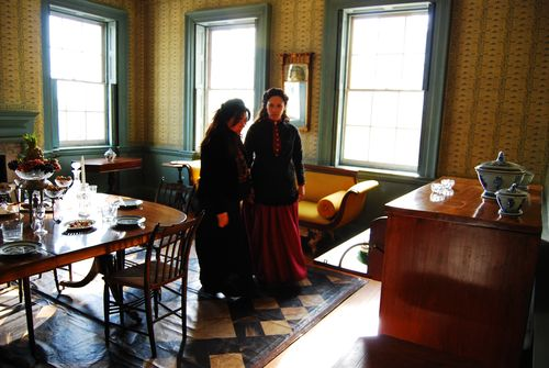 Director Maria Agui Carter and actress Romi Días prepare to shoot a scene in the historic Morris Jumel mansion in New York City. Photo by Julio Palleiro.