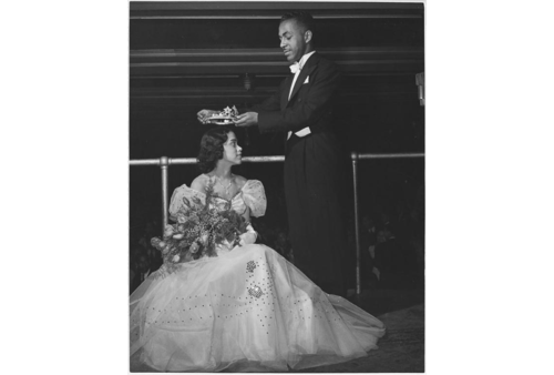 """Miss Nadine Harris becomes queen of Alpha Phi Alpha Fraternity at a Formal Dance,"" 1947. Scurlock Studio Records, ca. 1905-1994, Archives Center, National Museum of American History."