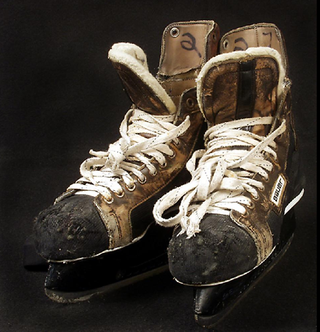 These skates were worn by Phil Verchota (number 27). While it was the win against the Finns that cinched the Gold, the defeat of the Soviet team in the semifinals captured the hearts and imaginations of Americans during a time of cold war tensions.