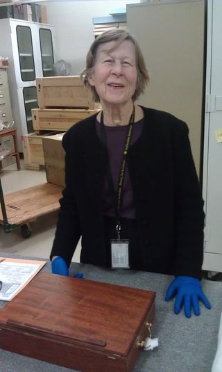 Martha Smith volunteers in the Objects Processing Facility