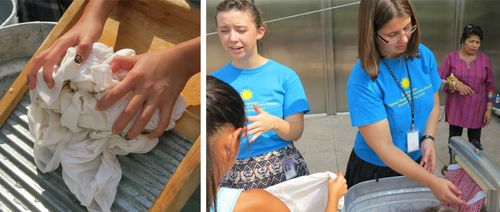 Interns help visitors wash, rinse, crank the wringer, and hang the clothes to dry. One sock that was washed and re-washed all summer kept growing longer and longer thanks to repeated trips through the wringer.