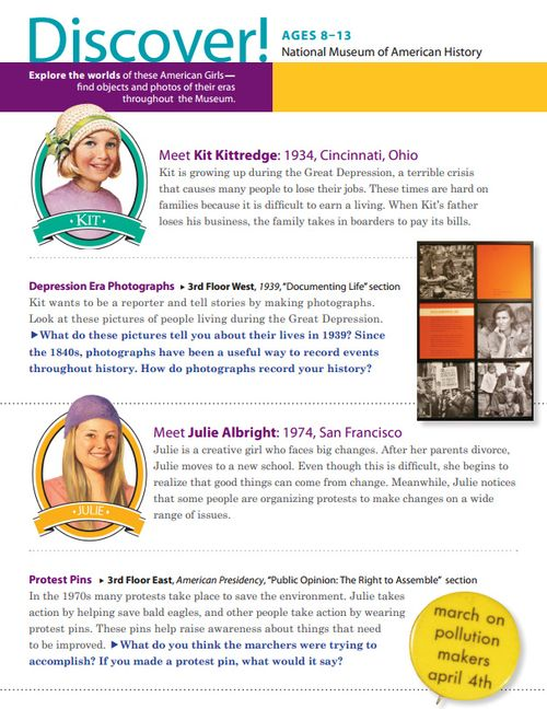 Page 1 of the American Girl Self-Guide (visit the Museum's website to download the full PDF)