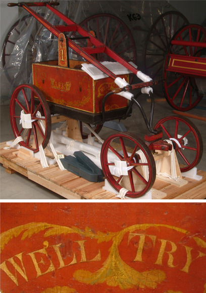 "Erika asked, ""What object/artwork in your collection makes you laugh?"" Assistant curator Tim Winkle's response: ""There's a simple hand-pumped fire engine in the collection, called a handtub, with a rather honest motto painted on the front: 'We'll Try.'"""