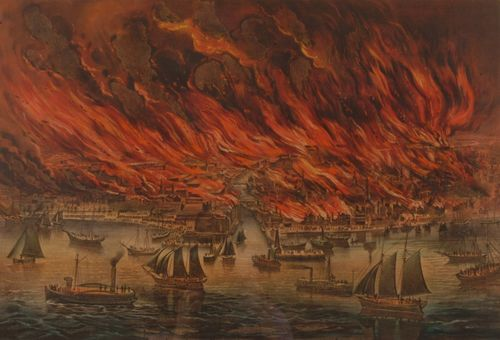 One of the many graphic art objects in the Museum's firefighting collection, this lithograph, produced by Currier & Ives, is a vivid depiction of the fiery devastation of Chicago on October 9, 1871.