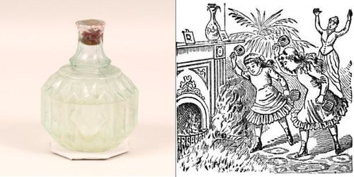 On the left, a late 19th century example of a glass fire grenade made by the Hayward Hand Grenade Fire Extinguisher Company of New York. On the right, a drawing of the Hayward fire grenade in action, from an 1887 magazine advertisement. The image encourages the idea that the product was so safe and effective, a child could use it.