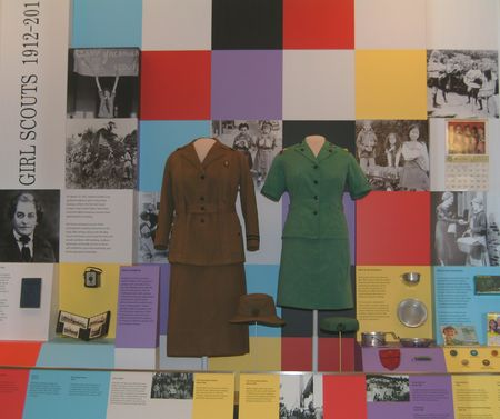 Girl Scout 1912-2012 Oct 2012: The museum celebrates the 100th anniversary of the Girl Scouts with this special case highlighting the organization's history from its early years to today through uniforms, camping, community activities, and more.