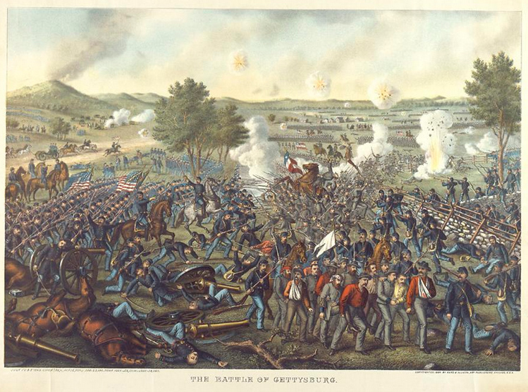 """Battle of Gettysburg"" Lithograph, Kurz & Allison-Art Studio, 1884"