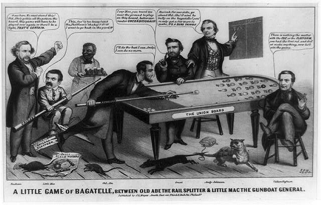 """A little game of bagatelle, between Old Abe the rail splitter & Little Mac the gunboat general,"" published by J.L. Magee, 1864."