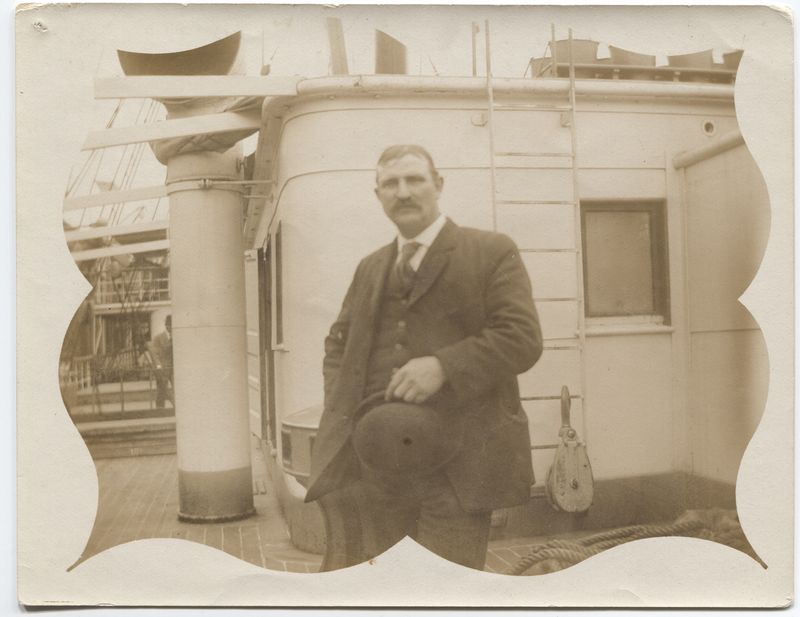 "Edward Ray aboard the steamship ""Panama"" en route to the Canal Zone."