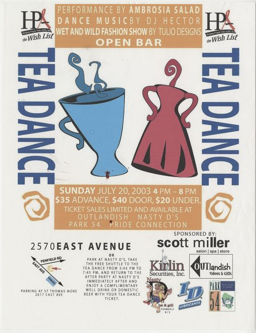 Helping People with AIDS Tea Dance fundraiser advertisement, 2003