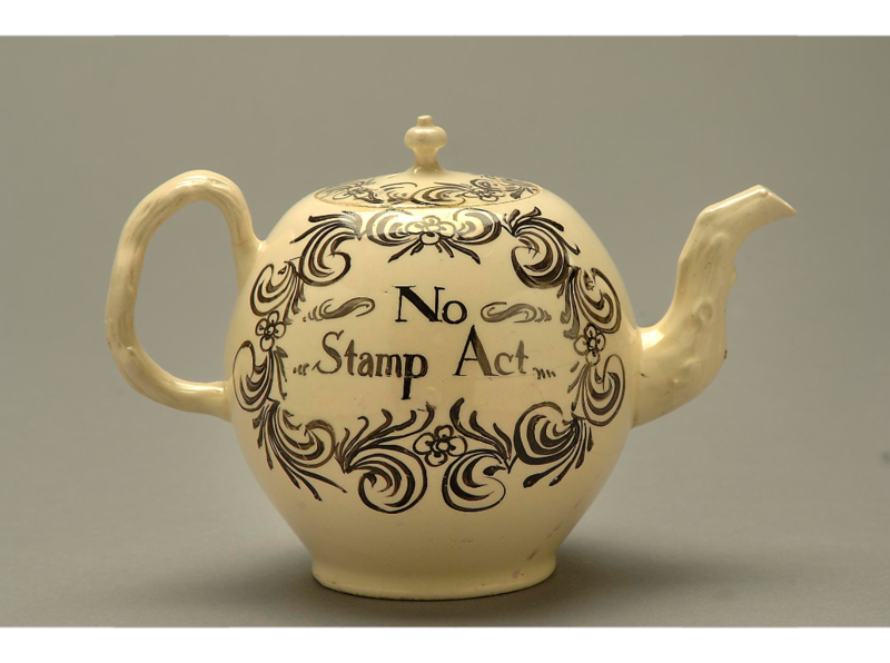 "The Stamp Act (1765), which taxed all printed materials ""was the first direct tax on the American colonies and provoked an immediate and violent response throughout the colonies."" ""Later, the Townshend Act (1767) imposed a duty on tea (as well as other commodities)."" ""The importance of tea and tea drinking to colonial society is underscored by the controversy surrounding it; rupturing in the Boston tea party (1773)."""