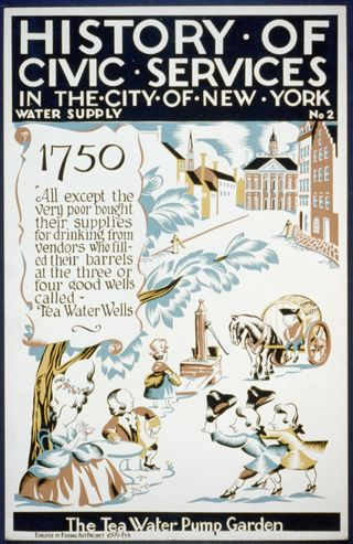 Poster for Federal Art Project series on the history of civic services, showing citizens socializing around water pump in New York in 1750. Federal Art Project 1699, Pt. 4, [1936].