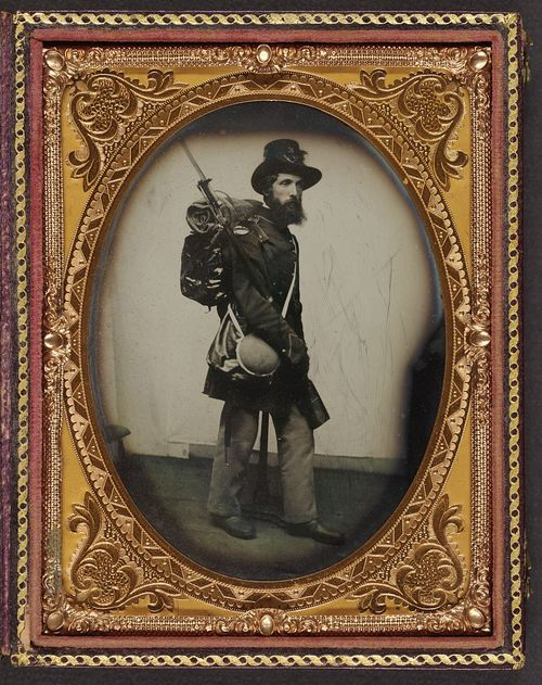 This photograph shows Private Albert H. Davis of Company K, 6th New Hampshire Infantry in his uniform, equipped with a knapsack, bedroll, canteen, and haversack. (Liljenquist Family Collection of Civil War Photographs, Library of Congress