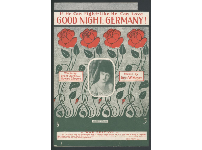 "This sheet music is for the song ""If He Can Fight Like He Can Love Good Night, Germany!"" The lyrics were written by Grant Clarke and Howard E. Rogers, and the music was composed by George Wimeyer."