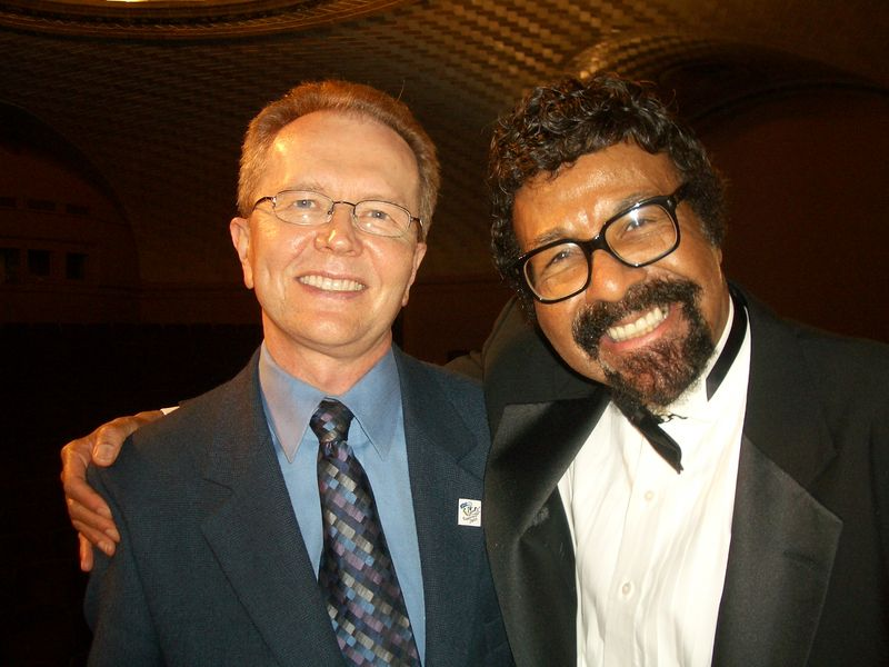 SJMO Founder John Edward Hasse and SJMO Musical and Artistic Director David Baker, following a concert in the Smithsonian's Baird Auditorium.   (Photo courtesy John Edward Hasse)