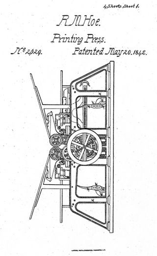 Patent model for Richard M. Hoe's invention describing an improvement to the double cylinder flatbed printing press. The invention was granted patent number 2629 in 1842.