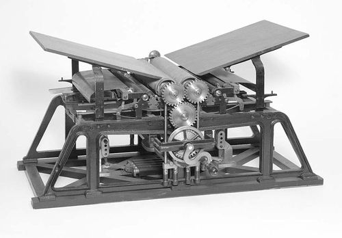 Patent model for a double cylinder flatbed printing press