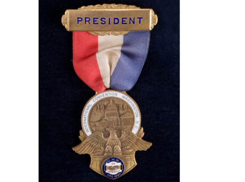 John L. Lewis, one of America's foremost labor leaders, wore this badge at the 1936 United Mine Workers of America convention