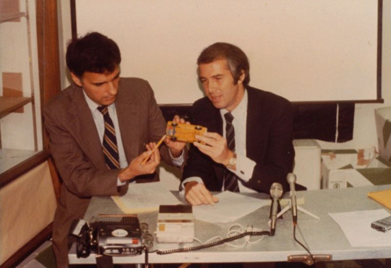 Ralph Nader and Byron Bloch point out the rear location of the Ford Pinto fuel tank at a press conference in Washington, D. C., 1978.  Courtesy of Byron Bloch