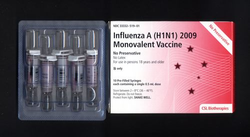 Influenza A (H1N1) 2009 Monovalent Vaccine made by CSL limited, Parkville Australia.